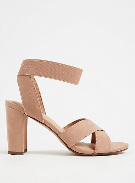 Taupe Faux Suede Crisscross Stretch Strap Heel (WW), , hi-res