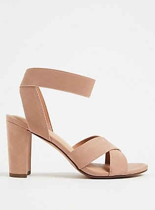 Taupe Faux Suede Crisscross Stretch Strap Heel (WW), TAN/BEIGE, hi-res