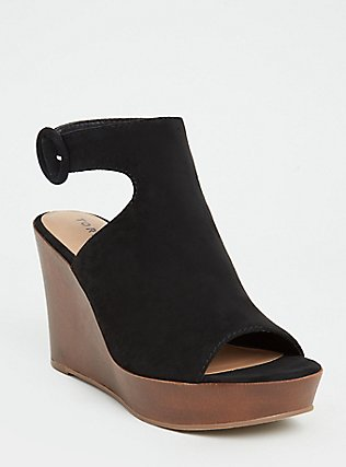 Black Faux Suede Platform Wedge (WW), BLACK, hi-res