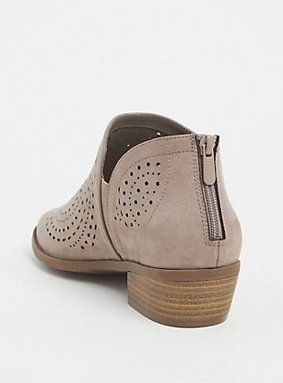 Taupe Perforated Faux Suede Bootie (WW), TAN/BEIGE, alternate