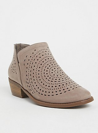 Plus Size Taupe Perforated Faux Suede Bootie (WW), TAN/BEIGE, hi-res