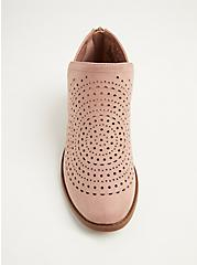 Blush Pink Perforated Faux Suede Bootie (WW), BLUSH, alternate