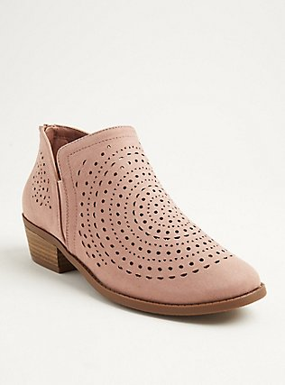 Plus Size Blush Pink Perforated Faux Suede Bootie (WW), BLUSH, hi-res