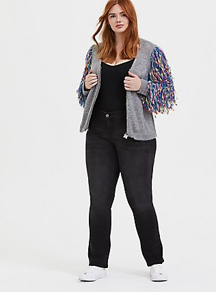 Plus Size Her Universe DC Comics Birds of Prey Harley Quinn Grey Crop Cardigan , MULTI, alternate