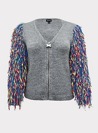 Plus Size Her Universe DC Comics Birds of Prey Harley Quinn Grey Crop Cardigan , MULTI, flat