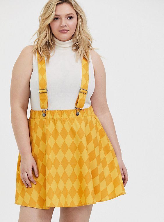Plus Size Her Universe Dc Comics Birds Of Prey Harley Quinn Yellow Twill Diamond Checker Overall Skirt Torrid