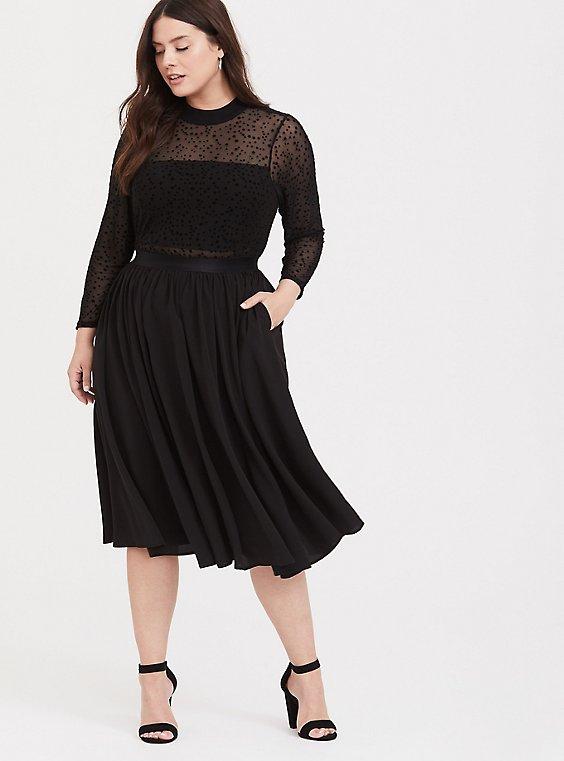 Black Mesh Flocked Star Mock Neck Midi Dress, , hi-res