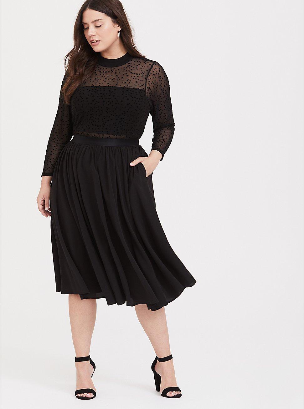 Black Mesh Flocked Star Mock Neck Midi Dress