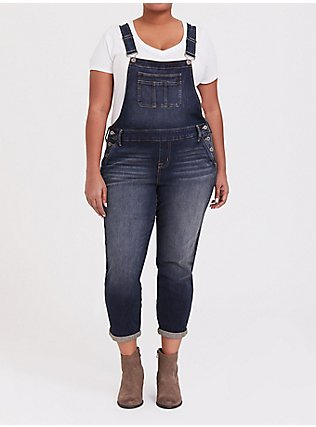 Plus Size Overall - Vintage Stretch Dark Wash, MAUI, hi-res
