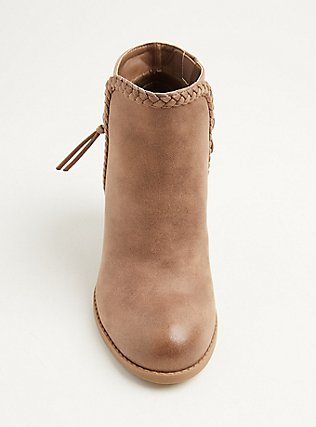 Tan Faux Leather Braided Cone Heel Bootie (WW), TAN/BEIGE, alternate