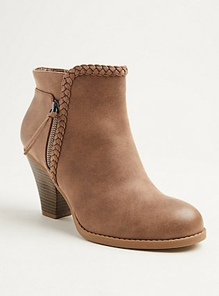 Plus Size Tan Faux Leather Braided Cone Heel Bootie (WW), TAN/BEIGE, hi-res