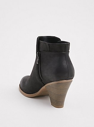 Black Faux Leather Braided Cone Heel Bootie (WW), BLACK, alternate