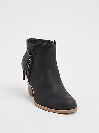 Black Faux Leather Braided Cone Heel Bootie (WW), BLACK, hi-res