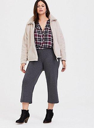 Dark Grey Rib Knit Culotte Pant, CHARCOAL HEATHER, alternate