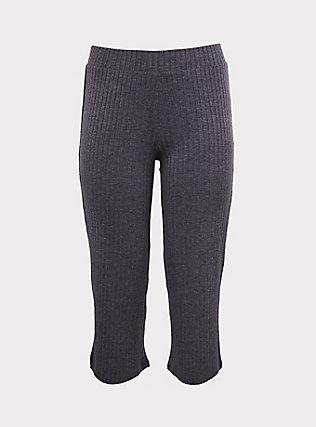 Dark Grey Rib Knit Culotte Pant, CHARCOAL HEATHER, flat