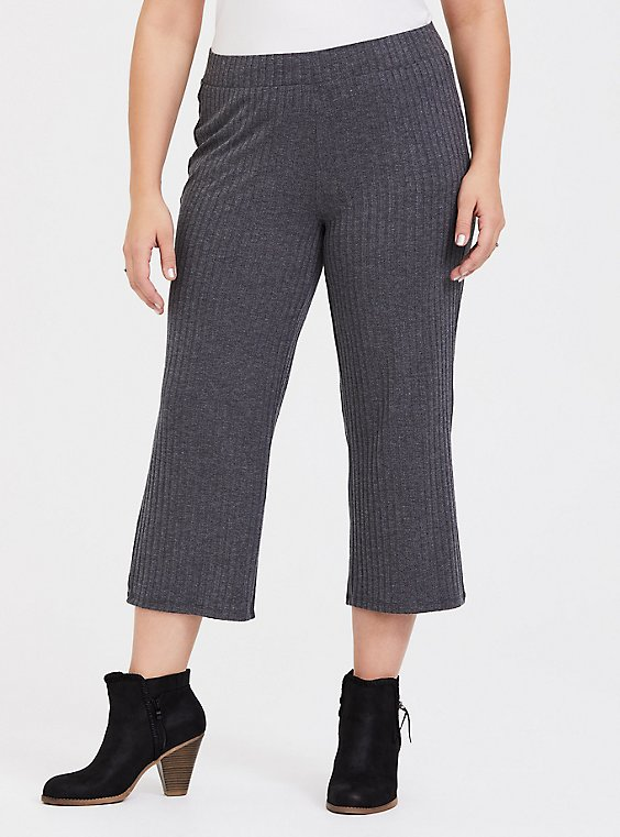 Plus Size Dark Grey Rib Knit Culotte Pant, , hi-res
