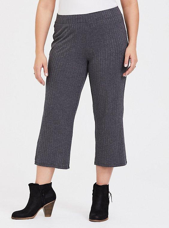 Dark Grey Rib Knit Culotte Pant, , hi-res