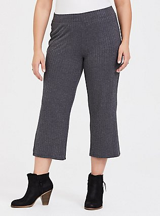 Plus Size Grey Rib Knit Culotte Pant, CHARCOAL HEATHER, hi-res