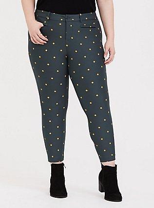Premium Ponte Skinny Pant - Green & Gold Dot, , hi-res