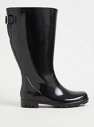 Plus Size Black Rubber Knee-High Rain Boot (WW), BLACK, hi-res