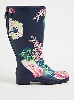 Plus Size Navy Floral Rubber Knee-High Rain Boot (WW), NAVY, hi-res