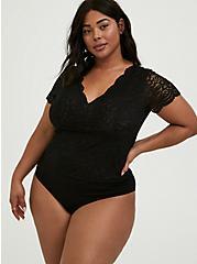 Plus Size Black Lace V-Neck Bodysuit, DEEP BLACK, alternate