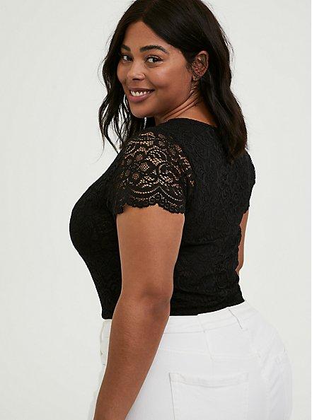 Black Lace V-Neck Bodysuit, DEEP BLACK, alternate
