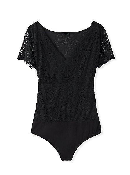 Black Lace V-Neck Bodysuit, DEEP BLACK, hi-res