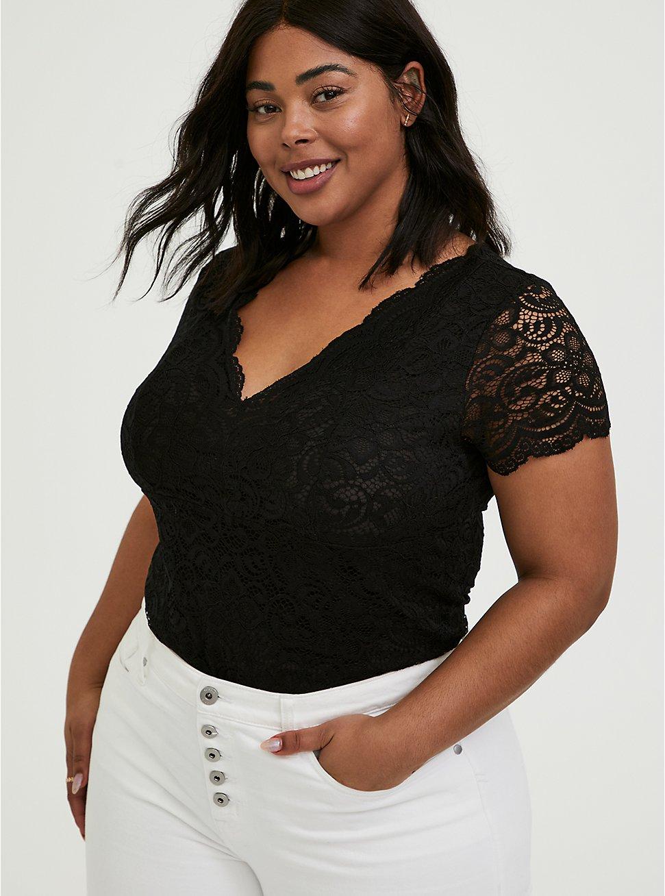 Plus Size Black Lace V-Neck Bodysuit, DEEP BLACK, hi-res