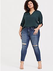 Plus Size Harper - Dark Green Satin Pullover Blouse, GREEN, alternate