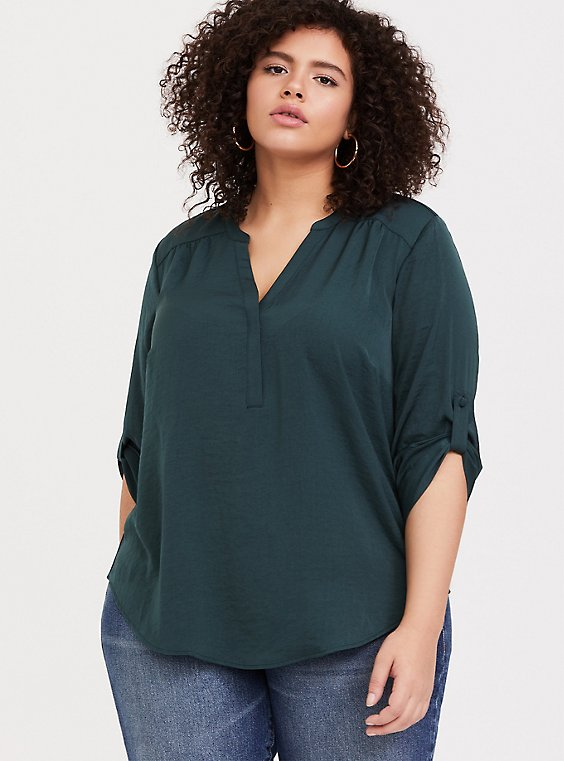 Plus Size Harper - Dark Green Satin Pullover Blouse, GREEN, hi-res