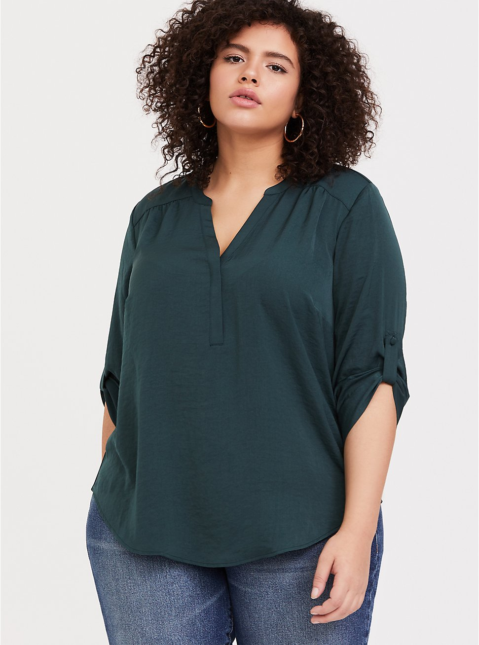 Harper - Dark Green Satin Pullover Blouse 4