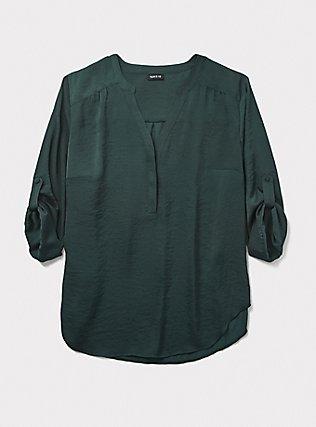 Plus Size Harper - Dark Green Satin Pullover Blouse, GREEN, pdped