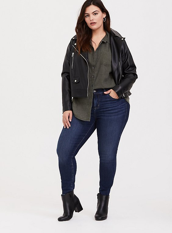 Plus Size Taylor - Olive Green Button Front Relaxed Fit Shirt, , hi-res