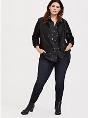 Plus Size Taylor - Charcoal Grey Polka Dot Button Front Relaxed Fit Shirt, MULTI COLOR, alternate