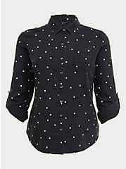 Plus Size Taylor - Charcoal Grey Polka Dot Button Front Relaxed Fit Shirt, MULTI COLOR, hi-res