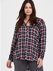 Purple Plaid Twill Pullover Tunic Blouse, MULTI, alternate