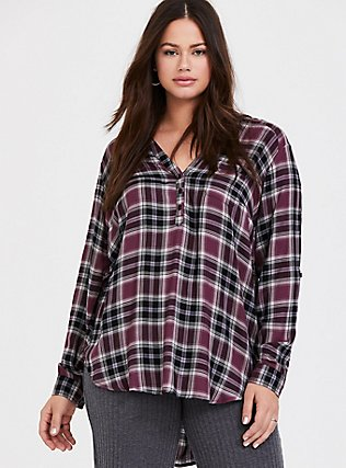 Purple Plaid Twill Pullover Tunic Blouse, MULTI, alternate
