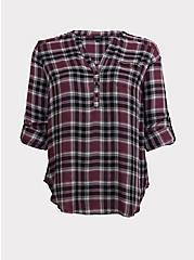 Purple Plaid Twill Pullover Tunic Blouse, MULTI, hi-res