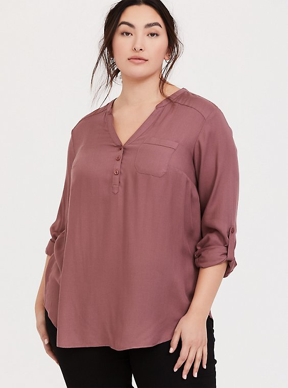 Plus Size Walnut Brown Twill Long Sleeve Pullover Tunic Blouse, , hi-res