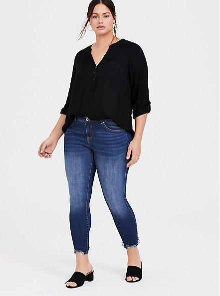 Plus Size Black Twill Henley Pullover Tunic Blouse, DEEP BLACK, alternate