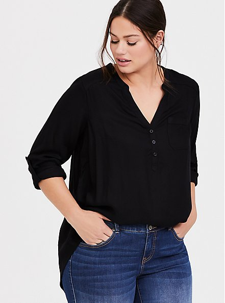 Plus Size Black Twill Henley Pullover Tunic Blouse, DEEP BLACK, hi-res