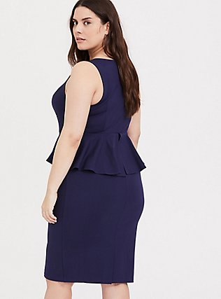 Navy Premium Ponte Peplum Dress, PEACOAT, alternate