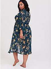 Plus Size Outlander Dark Teal Floral Chiffon Self Tie Robe, MULTI FORAL, alternate