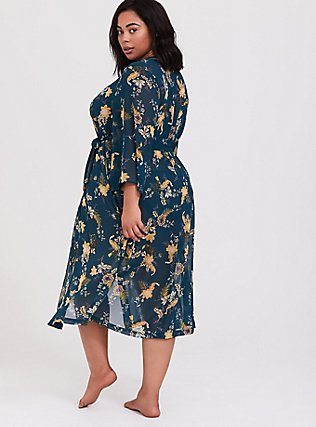 Plus Size Outlander Green Chiffon Floral Robe, MULTI FORAL, alternate