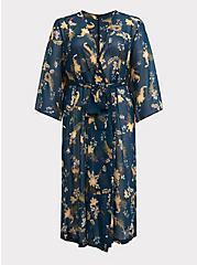 Plus Size Outlander Dark Teal Floral Chiffon Self Tie Robe, MULTI FORAL, hi-res