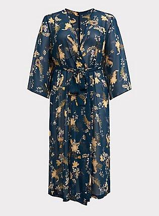 Plus Size Outlander Green Chiffon Floral Robe, MULTI FORAL, flat