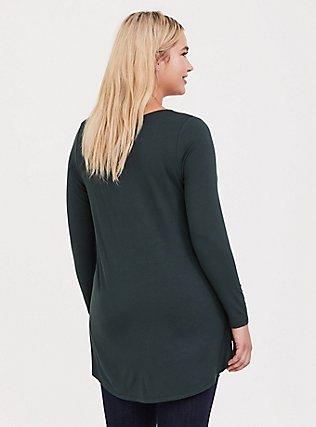 Super Soft Dark Green Hi-Lo Long Sleeve Tee, , alternate