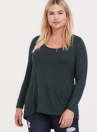 Super Soft Dark Green Hi-Lo Long Sleeve Tee, , hi-res