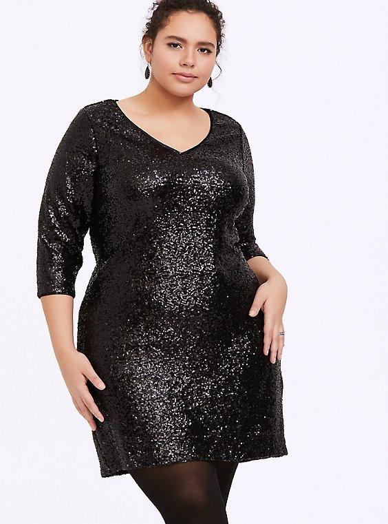 Black Sequin Shift Dress, , hi-res